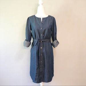 LOFT Denim Linen Lyocell Blend Shirt Dress -XS